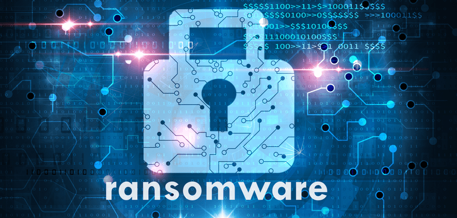Silhouette of a Blue Padlock over a digital background with binary code, depicting a ransomware attack and cybersecurity concept