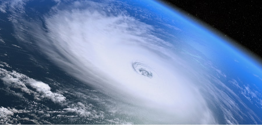 Giant cloud structure of a hurricane as seen from the space, depicting a hurricane preparedness concept
