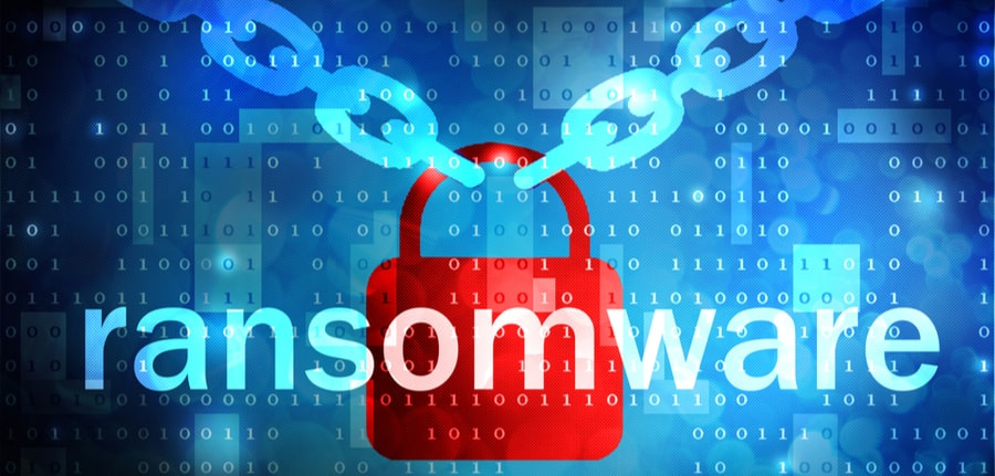 Red Padlock hanging on blue chains depicting a ransomware attack and cybersecurity concept