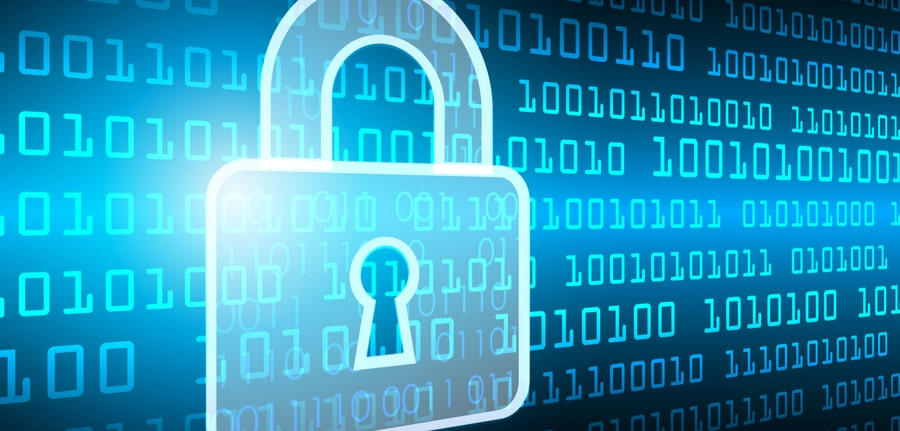 Silhouette of a Blue Padlock over a backdrop of binary code depicting ransomware and a cybersecurity concept