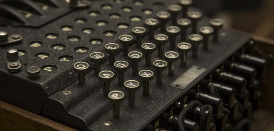 Enigma, the German cipher machine created for sending messages during World War 2, depicting a Cybersecurity concept